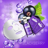Blackcurrant skin care mask ads. Vector Illustration with blackcurrant smoothing mask and serum Stock Photography