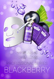 Blackcurrant skin care mask ads. Vector Illustration with blackcurrant smoothing mask and serum Royalty Free Stock Photo