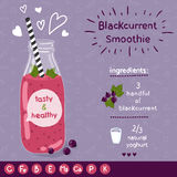 Blackcurrent smoothie recipe. Royalty Free Stock Photos