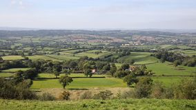 Blackdown Hills east Devon countryside view from East Hill near Ottery St Mary PAN stock video