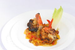 Blackened Shrimp. In sweet mango chutney Royalty Free Stock Photography