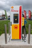 Blackfen, Kent / United Kingdom - April 4th 2019 : Electric vehicle charging station at Shell service station royalty free stock images