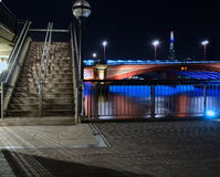 Blackfiars Bridge. The Shard in the distance. Night time Royalty Free Stock Photos