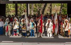Blackfoot Elders. CALGARY, ALBERTA: Blackfoot Elders opening the traditional Indian Village at the Calgary Stampede in Calgary, Alberta, Canada. A Blackfoot royalty free stock images