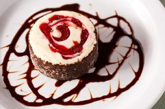 Blackforest Cheese Cake with Syrup Stock Photo