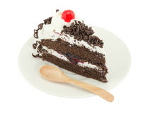 Blackforest kaka på vit bakgrund Fotografering för Bildbyråer
