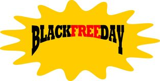 Blackfree friday in splah icon. Vector black free day in splash icon royalty free illustration