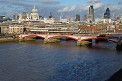 Blackfriars Bridge London. Sunny afternoon panorama of Blackfriars Bridge in London Royalty Free Stock Photography