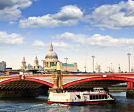 Blackfriars Bridge and St. Paul's Cathedral Royalty Free Stock Photo