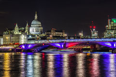 Blackfriars bridge and St Paul's cathedral by night Stock Photography