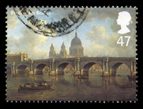 Blackfriars Bridge UK Postage Stamp. UNITED KINGDOM - 2002: A Postage Stamp from the UK containing an image of the Blackfriars Bridge in London, circa 2002 royalty free stock image