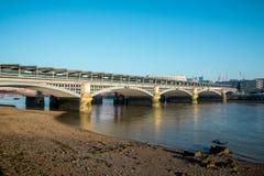 Blackfriars Railway bridge across Thames River in London. Great Britain Stock Photography