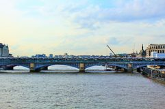Blackfriars Railway Bridge in London. Blackfriars is the largest solar powered bridge in London over the river thames Royalty Free Stock Photography