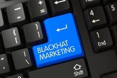 Blackhat Marketing - Modern Laptop Key. 3d. Blackhat Marketing Concept: Black Keyboard with Blue Enter Button Background, Selected Focus. 3D Royalty Free Stock Photo