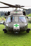 Blackhawk Helicopter Medical Evacuation Front View. Some natural and manmade disasters require rescue services. This is a Blackhawk helicopter being used in a Royalty Free Stock Photos