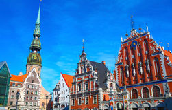 Blackheads house and Saint Peter's church in Riga Stock Images