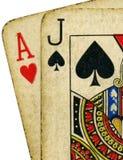blackjack βρώμικος τρύγος καρτών Στοκ Φωτογραφία