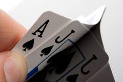 blackjack κάρτες Στοκ φωτογραφίες με δικαίωμα ελεύθερης χρήσης
