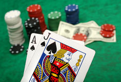 blackjack νίκη χεριών Στοκ Εικόνα