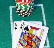 blackjack στενός επάνω Στοκ Φωτογραφίες