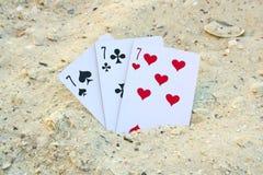 Blackjack στην άμμο παραλιών Στοκ εικόνα με δικαίωμα ελεύθερης χρήσης