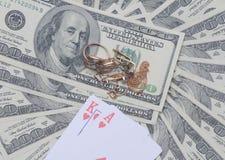 Blackjack στο Ηνωμένο δολάριο Στοκ φωτογραφία με δικαίωμα ελεύθερης χρήσης