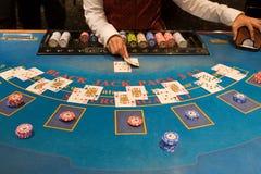 blackjack играя таблицу стоковая фотография rf