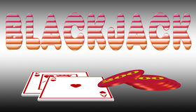 Blackjack (01). Illustration card winners and winning chips Royalty Free Stock Photos