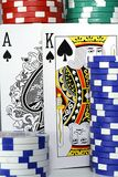 BlackJack. Two standing cards with poker Chips Royalty Free Stock Photo