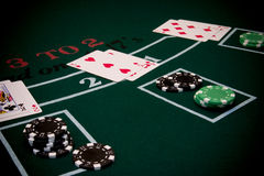 Blackjack 2. Blackjack table scene Royalty Free Stock Photos