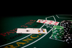 Blackjack 5. Blackjack table scene Stock Images