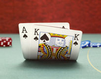 Blackjack. Winning position blackjack with king & ace Royalty Free Stock Photos