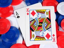 Blackjack. A blackjack hand on a pile of chips royalty free stock photography