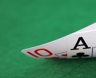 Blackjack. Close up on green felt royalty free stock photography
