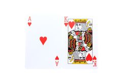 Blackjack. An ace and a king of Hearts isolated on white stock photos