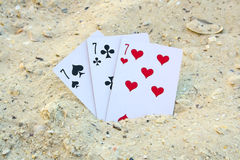 Blackjack on the beach sand royalty free stock image