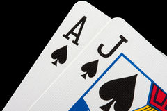 Blackjack cards. Close-up of blackjack cards isolated on black Stock Photography