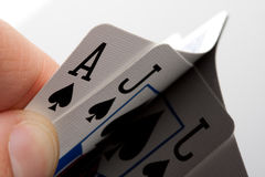 Blackjack cards. Close-up of blackjack cards in palm of hand royalty free stock photos