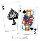Blackjack cards with king and ace Stock Photos