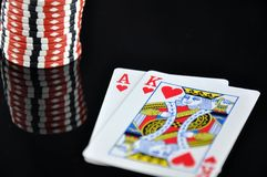 Blackjack and Casino Chips Royalty Free Stock Photos