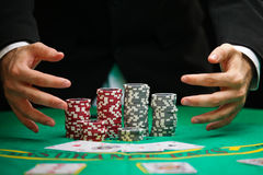 Blackjack in a Casino Gambling Game. A Man Wins Jackpots In Blackjack And Takes All The Chips Stock Images