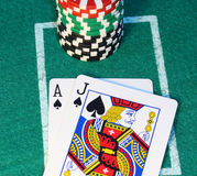 Blackjack close up. Stock Photos