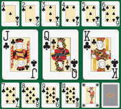 Blackjack Club suit large index. Playing cards, club suit, joker and back. Faces double sized. Green background in a separate level in vector file Stock Photo