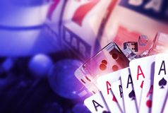 Blackjack Craps and Slots. Casino Games Concept 3D Rendered Illustration. Playing Cards, Glassy Dices and the Fruit Machine in the Background. Vegas Games Stock Photos
