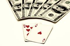 Blackjack, dat ook als Eenentwintig, de vingt-et-V.N. wordt bekend Royalty-vrije Stock Foto
