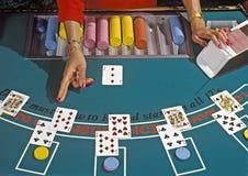 Blackjack dealer. Next bet of a blackjack game royalty free stock images