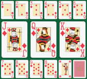 Blackjack Diamond suit large index. Playing cards, diamond suit, joker and back. Faces double sized. Green background in a separate level in vector file Stock Photo