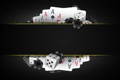 Blackjack Dices and Chips. Blackjack Dices and Casino Chips 3D Illustration with Center Copy Space Section. Casino Gambling Concept Royalty Free Stock Image