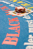 Blackjack Hand. On a blackjack table Royalty Free Stock Photo