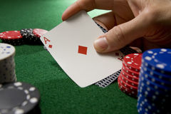Blackjack hand with Ace Stock Image